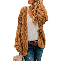 Astylish Women Open Front Long Sleeve Chunky Knit Cardigan Sweaters Loose Outwear Coat S-XXL