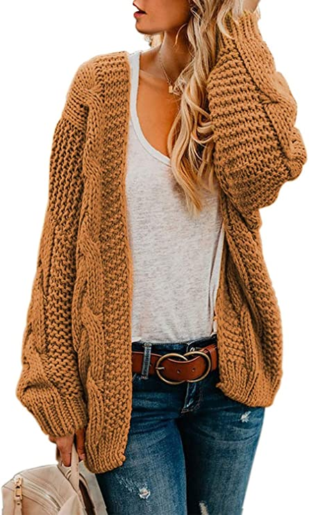 Astylish Women Open Front Long Sleeve Chunky Knit Cardigan Sweaters Loose Outwear Coat at Amazon Women's Clothing store