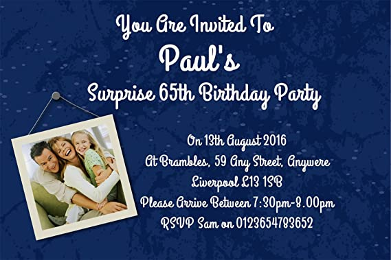 40 Personalised Surprise Birthday Party Invite Invitations For ANY Age Ref D BL FREE PP Amazoncouk Office Products