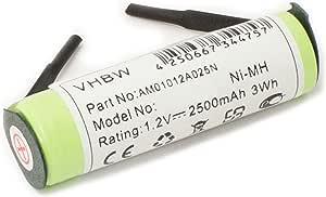 vhbw Batería NiMH 2500mAh (1.2V) para recortador de barba, cepillo ...