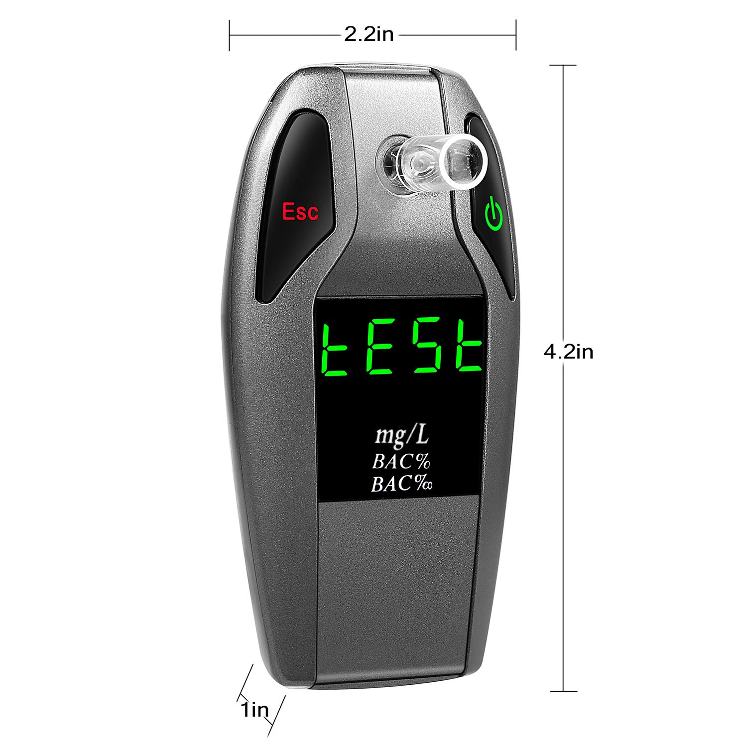 JASTEK Breathalyzer, [2019 New Version] Fuel Cell Sensor Digital Breath Alcohol Tester and Professional Grade Blood Alcohol Content Detector Made of Zinc Alloy by JASTEK (Image #4)