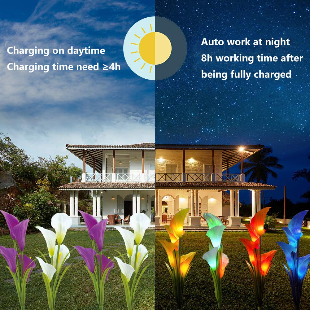 Solar Garden Lights with 12pcs Calla Lily Flowers for Garden Backyard Lawn Purple//White Auto Multi-Color Changing Solar RGB Landscape Lights with Spike 3Packs Solar Flower Lights Outdoor