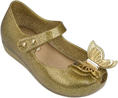 f198fc5f6ccef Melissa Girls Mini Ultragirl Fly Mary Jane Flat Champagne Glitter Size 11 M  US Little Kid