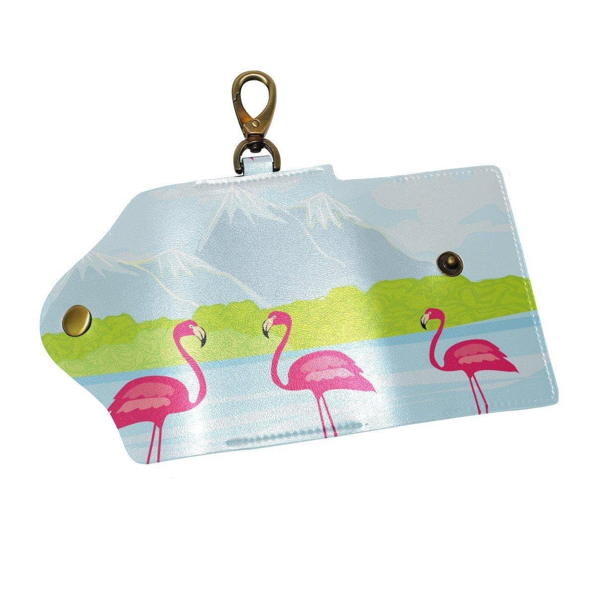 DEYYA Three Pink Flamingos The Water Leather Key Case Wallets Unisex Keychain Key Holder with 6 Hooks Snap Closure
