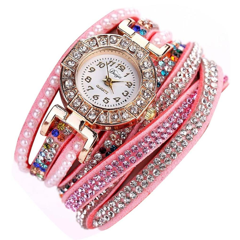Hunputa Ladies Watch Women Pearl Scale Bracelet Quartz Wristwatch Crystal Diamond Clock Women Dress Watch (Pink)