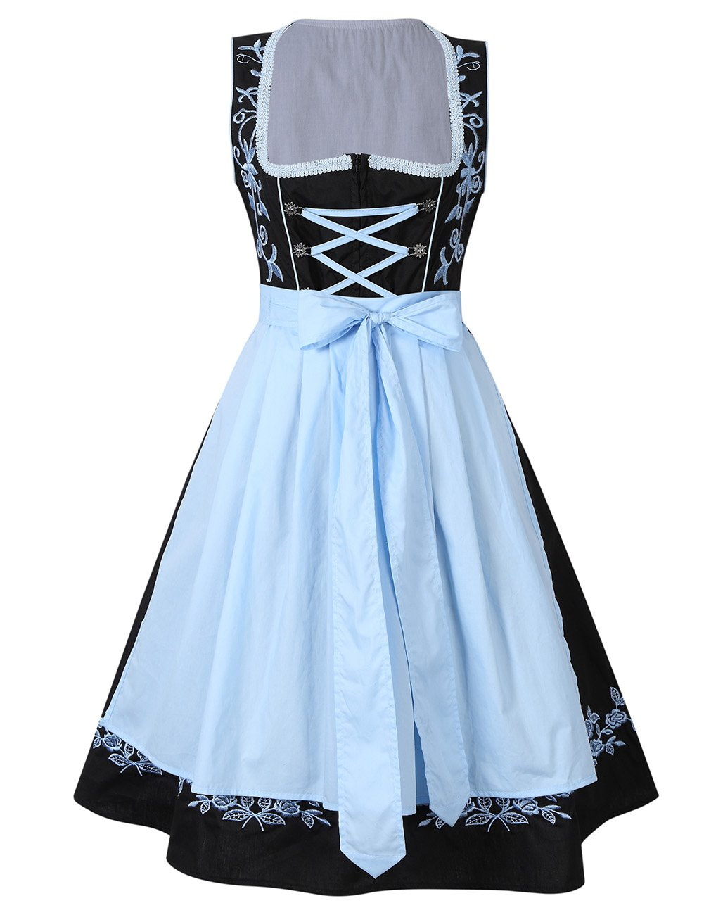 Leoie Kojooin Women 2 Pcs Costumes Embroidery Oktoberfest Dirndl Dress Black 40