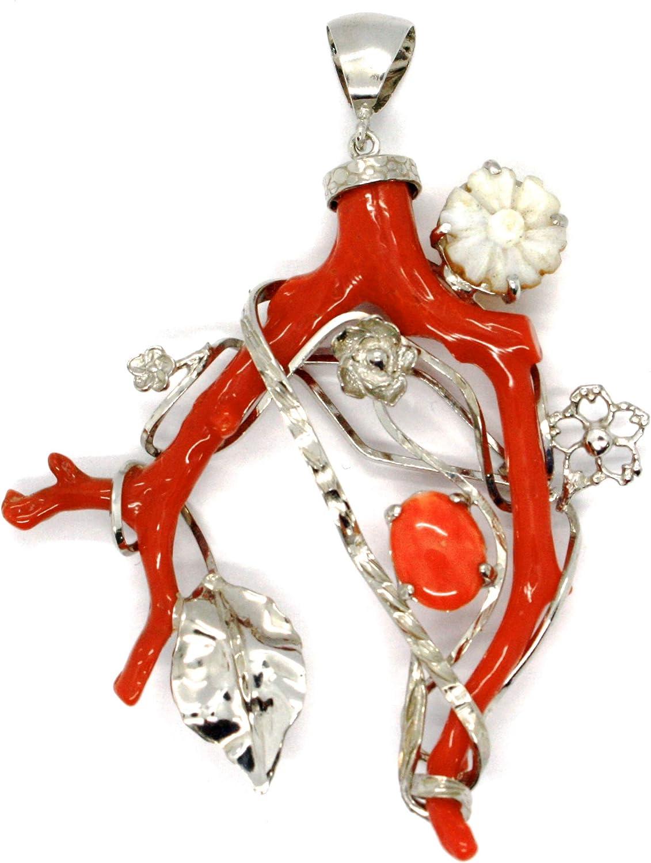 Desconocido genérico Colgante de Plata Cameo camafeo, Rama de Coral Rojo, Flores nácar, Hoja, Longitud 8.5cm, Fabricado en Italia