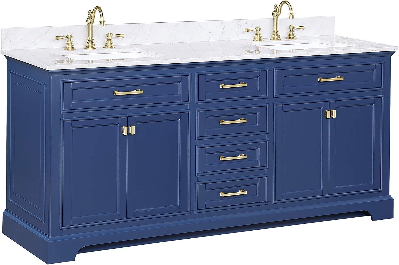 Design Element Ml 72 Blu Milano 72 Blue Bathroom Vanity With Double Sink Carrara Marble Countertop Amazon Com