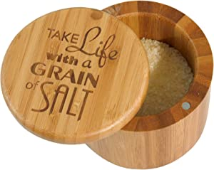 Totally Bamboo Salt Box Bamboo Storage Box, with Magnetic Swivel Lid,
