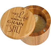 """Totally Bamboo Salt Box Bamboo Storage Box, with Magnetic Swivel Lid,""""Take Life with a Grain of Salt"""" Permanently Engraved on Lid"""