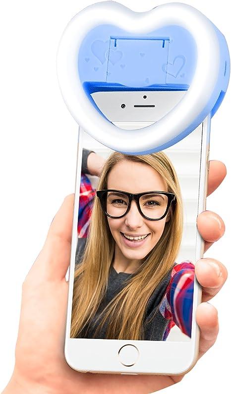 Foto Selfie mejora luz, Super radiante 23 LED luces para Samsung Galaxy S3 MINI i8190 en forma de corazón anillo Fill Light con maquillaje espejo 3 brillo modo para smartphones (azul): Amazon.es: