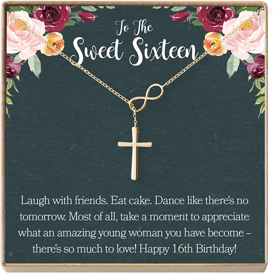 Dear Ava Sweet 16 Gift Necklace: Sweet Sixteen, 16th Birthday, Gift for Her, Infinity Cross