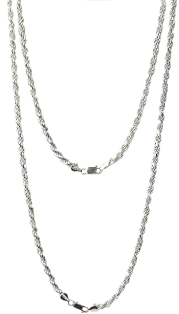 24 inch STERLING SILVER DIAMOND CUT ROPE CHAIN NECKLACE WITH LOBSTER CLAW  CLASP MADE IN ITALY 498f69badb