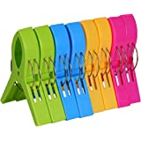 ECROCY 8 Pack Beach Towel Clips - Jumbo Size- Keep Your Towel from Blowing Away,Clothes Lines, Plastic, Single Thickness, Single Thickness