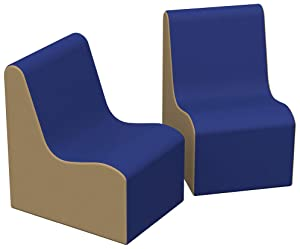 FDP SoftScape Wave Preschool Chair Seating Set, Play Soft Supportive Foam Furniture for Kids for Bedrooms, Playrooms, Classrooms - Blue/Sand (2-Pack)