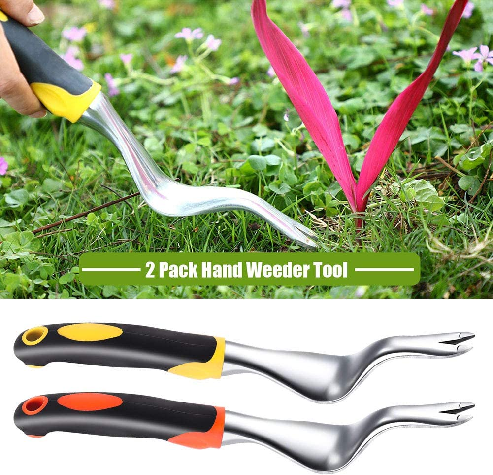HEQUSigns 2 Pcs Hand Weeder Tool Garden Weeding Tools Weeding Removal Gardening Weed Puller with Ergonomic Handle for Garden Lawn Farmland Transplant