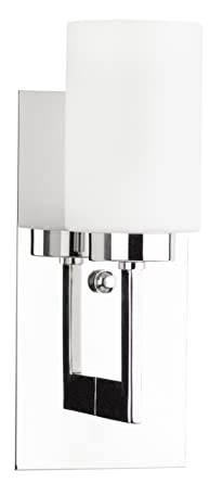 Brio wall sconce light fixture chrome w frosted glass shade brio wall sconce light fixture chrome w frosted glass shade linea di liara aloadofball Choice Image