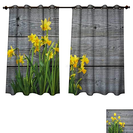 Amazon rupperttextile yellow flower blackout thermal backed rupperttextile yellow flower blackout thermal backed curtains for living room bouquet of daffodils on wood planks mightylinksfo