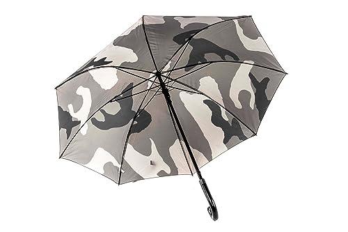 Paraguas hombre largo PERLETTI camuflaje beige automático mango curvo Q701