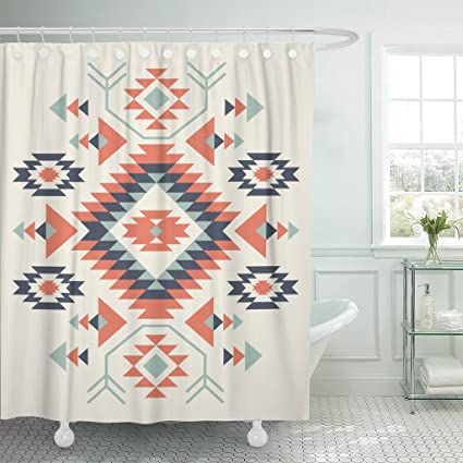 Image Unavailable Not Available For Color TOMPOP Shower Curtain Blue Aztec Ethnic Pattern Red