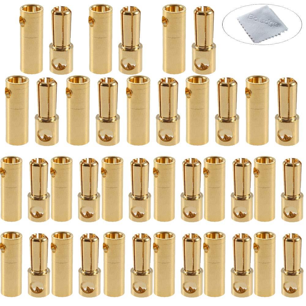 Boladge 20 Pares Conector Banana Ba/ñado 5.0MM 5MM Plateado Oro 20 Piezas Conector Macho 5.0mm 5mm y 20 Piezas Conector Hembra 5.0mm 5mm