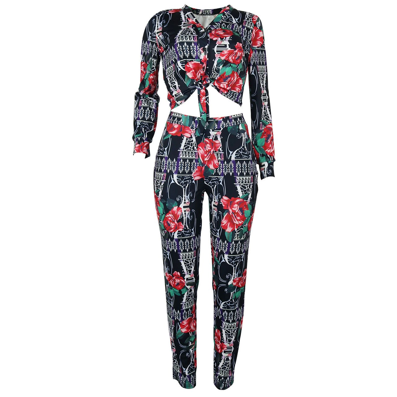 2 Piece Outfits for Women Floral Print Stretch Long Sleeve V Neck Blouse + Bodycon Long Pants Black, Small
