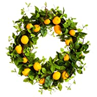 New Creative Boutiful Lemon 24-inch Outdoor Safe Wreath