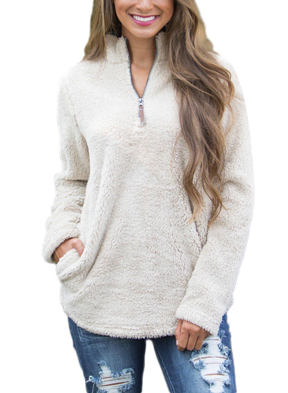 Sidefeel Women High Neck Zippered Fleece Pullover Tops Medium White