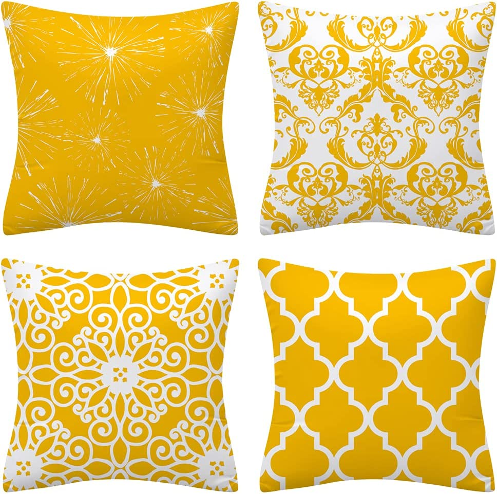 Set of 4 Throw Pillow Covers Yellow Pillow Covers Boho Morocco Pattern Home Decorative Accent Pillow Covers Cushion Case for Bedroom Livingroom Sofa Couch Chair Car (Yellow and White, 18 x 18 Inch)