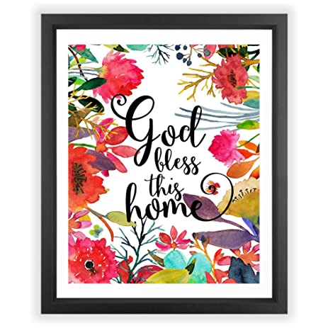 Amazon.com: Eleville 8X10 God bless this home Floral Watercolor Art ...