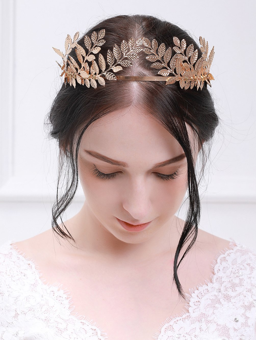 fxmimior Handmade Bridal Wedding Crown Leaf Headband Women Crystal Tiara Headpiece (GOLD) (gold) by fxmimior