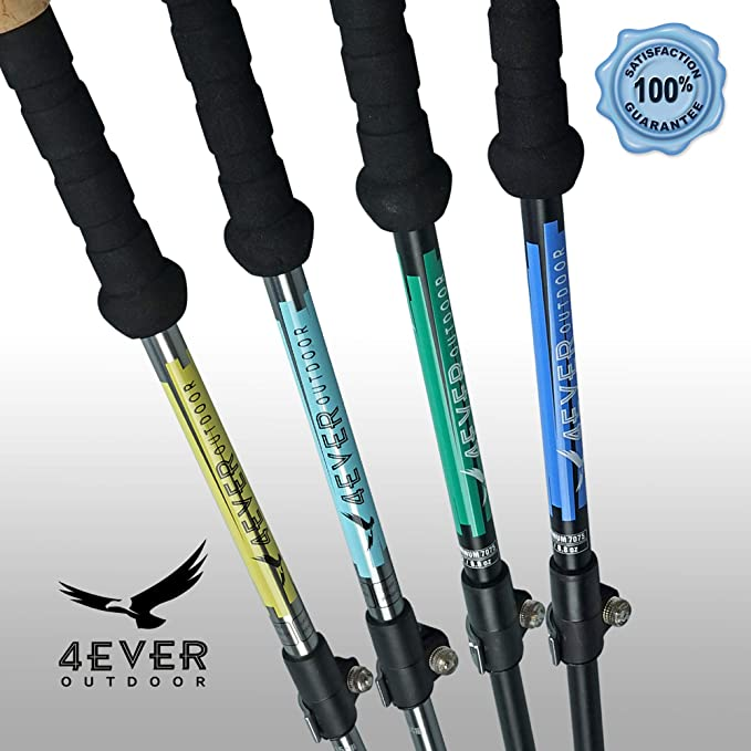4EVER Outdoor Trekking Poles - Collapsible Ultralight Aluminum 7075 Walking  Stick Hiking Poles with Quick Lock, Tip, Accessory and Bag - Adjustable