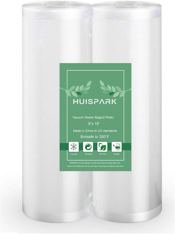 8''x16' Vacuum Sealer Food Grade Bags Heat Sealing Bag Sous Vide,Kitchen Food Storage Vacuum Bags,Put in Vacuum Machine Choice Roll Vacuum Bag(2 Roll)