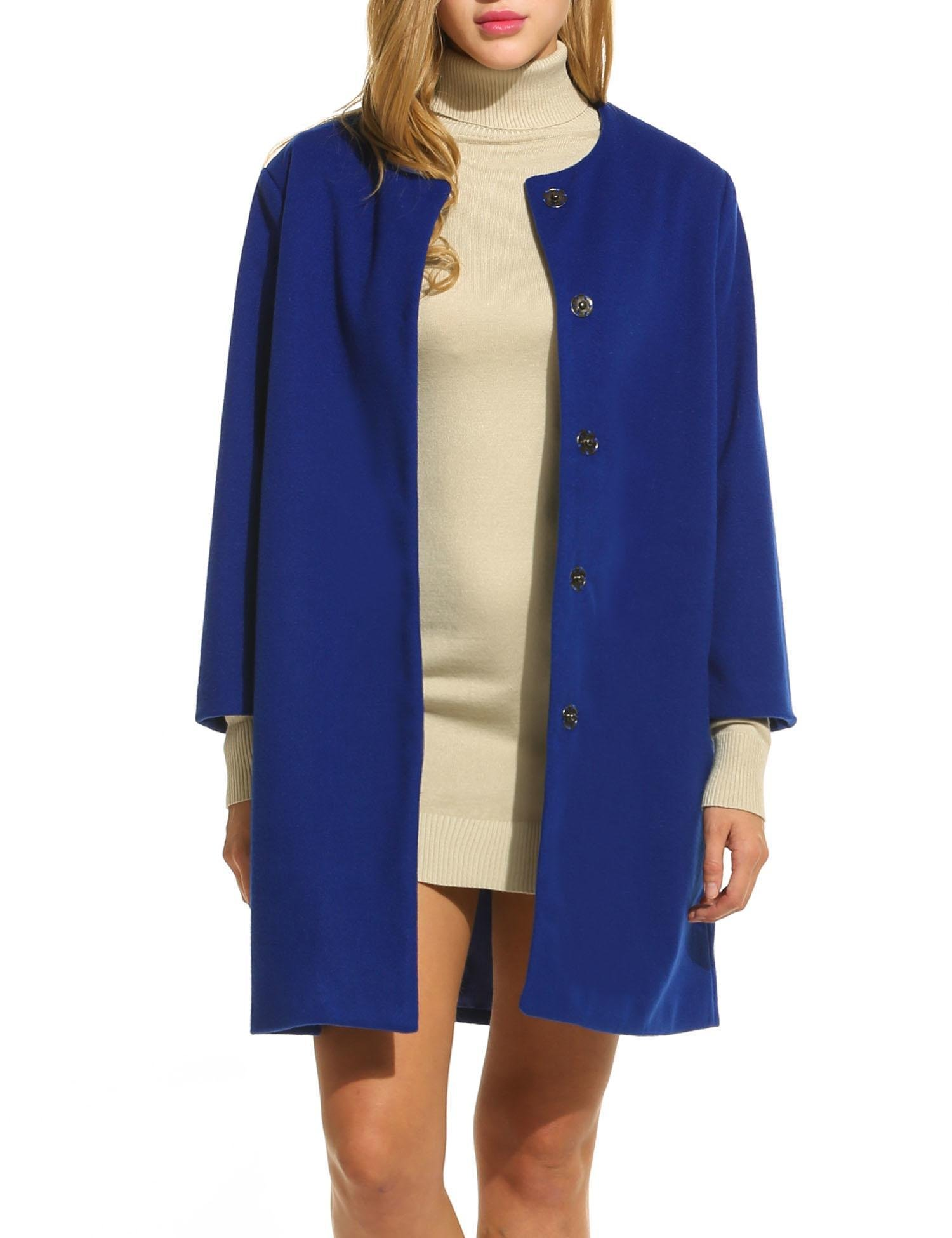 ELESOL Women Long Black Cardigan Jackets Open Front Trench Coat with Pockets (Blue/XL)