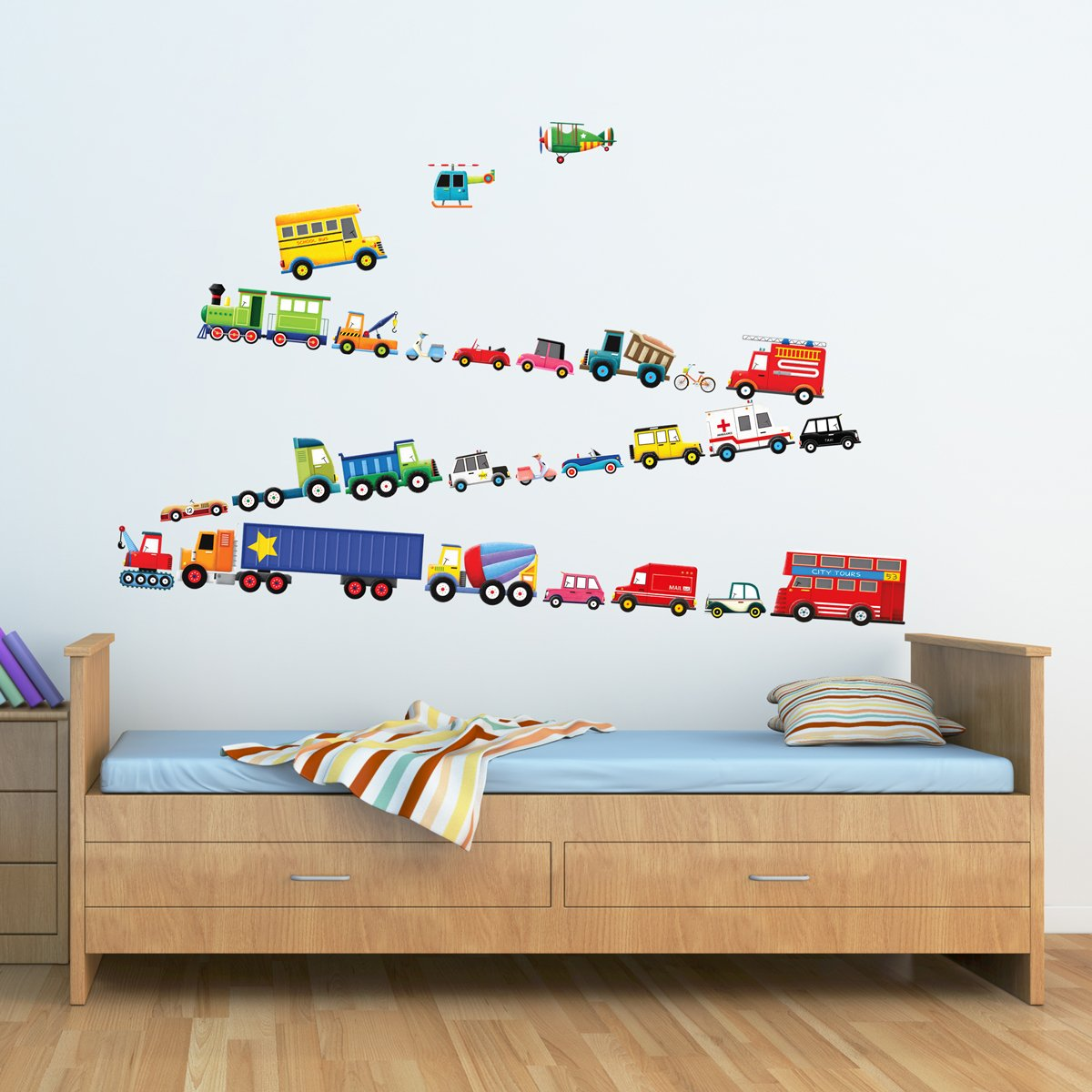 Amazon decowall dw 1605 27 transports kids wall decals wall amazon decowall dw 1605 27 transports kids wall decals wall stickers peel and stick removable wall stickers for kids nursery bedroom living room baby amipublicfo Gallery