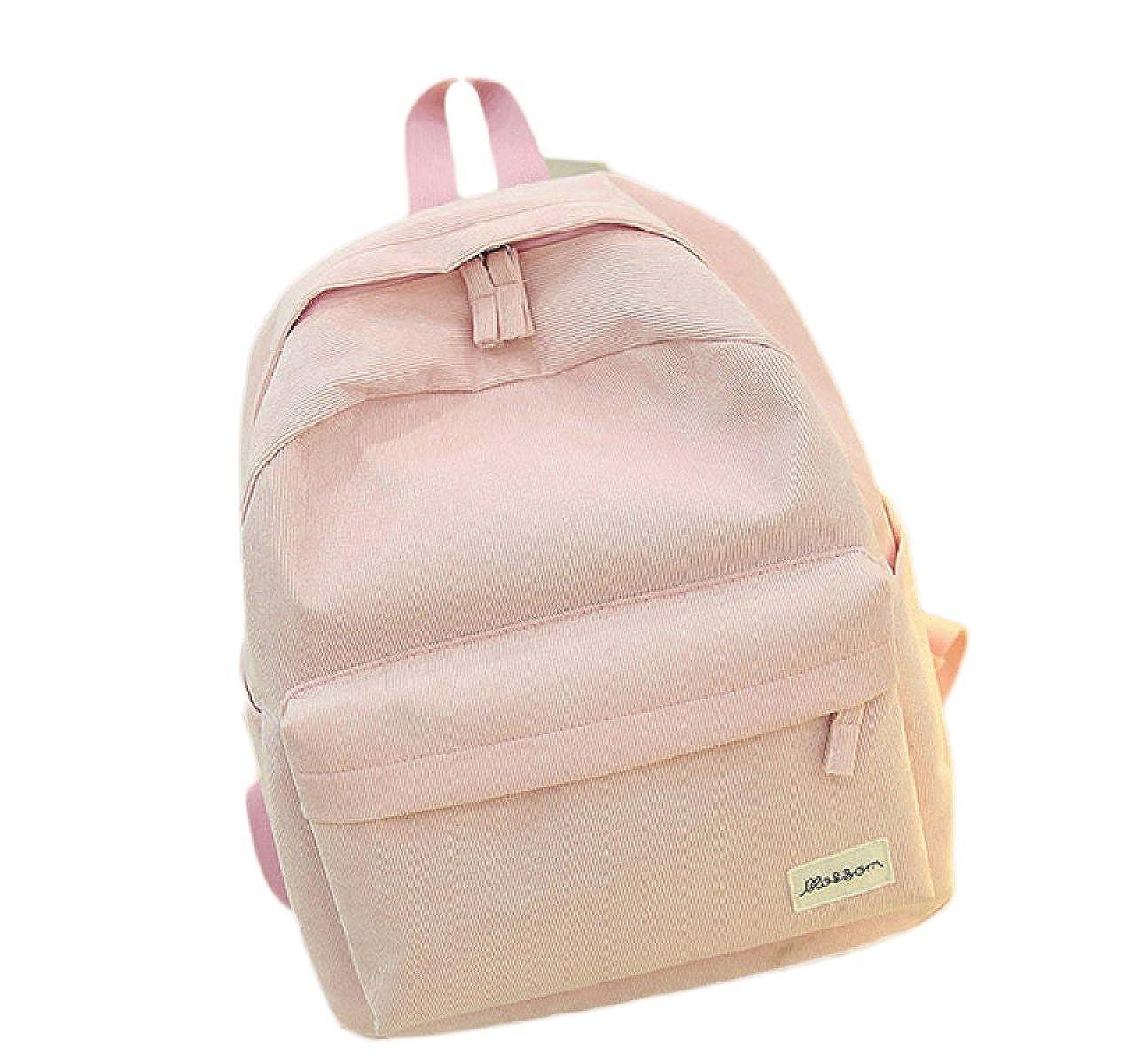 Pink One Size Ladies Backpacks Bags Handbags Canvas Backpack Tide Bag Wild High School School Bag Female Velvet Handbags