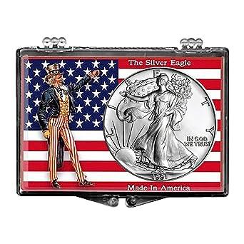 1 OZ 999 Uncle Sam Flag Snaplock Case 2014 Silver Dollar American Eagle BU