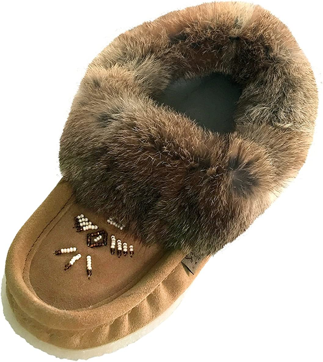 Laurentian Chief Women's Suede Slippers with Rabbit Fur Collar Moccasins