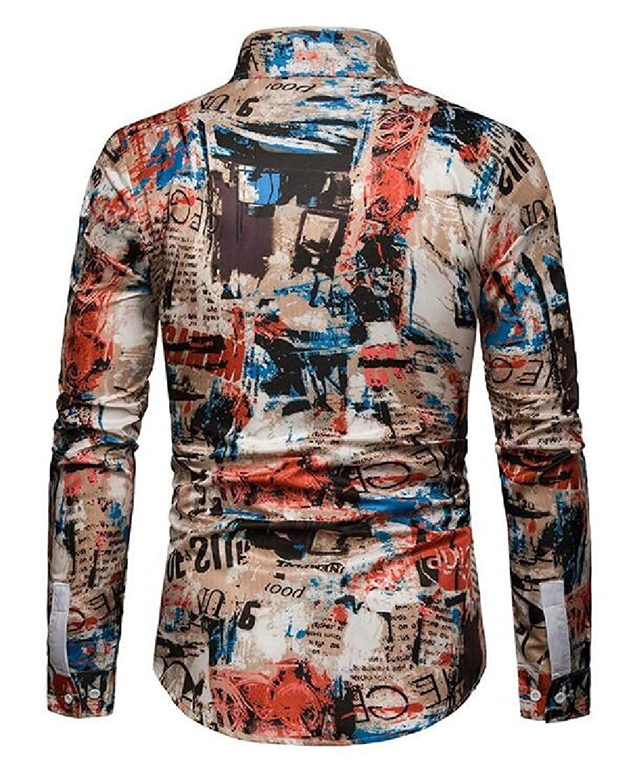 Fubotevic Mens Casual Slim Long Sleeve Lapel Print Button Up Dress Work Shirt