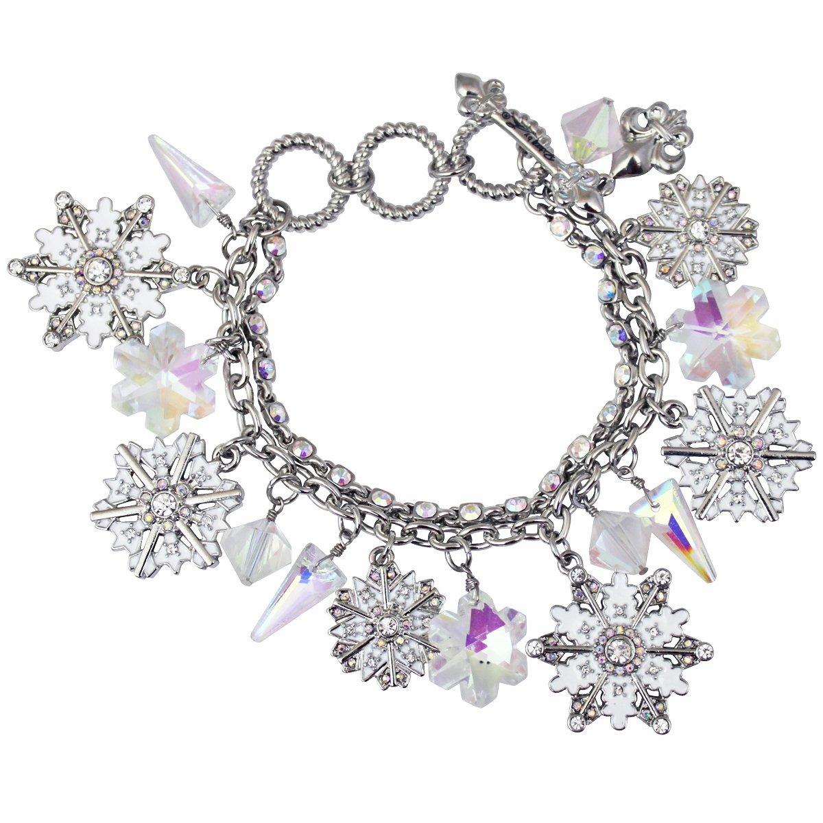 Ritzy Couture ''Blizzard'' Snowflake Two-Strand Charm Bracelet - Silvertone