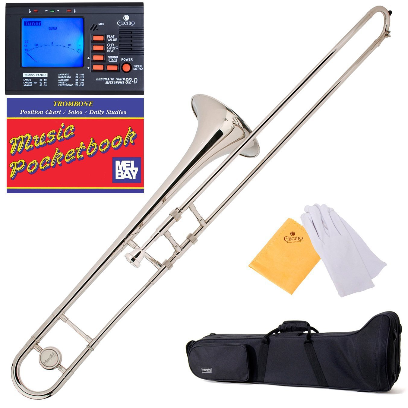 Mendini B-Flat Slide Trombone, Nickel Plated and Tuner, Case, Pocketbook - MTB-N+92D+PB Mendini by Cecilio