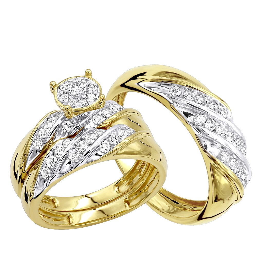 Affordable 10K Gold Diamond Engagement Ring Wedding Band Trio Set 0.9ctw (Yellow Gold, Size 7.5)