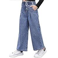 TiaoBug Jeans Elegantes para Niñas Vaquero Elástica Cintura Pantalones Anchos de Pierna Sueltos y Cintura Alta 5-14Años