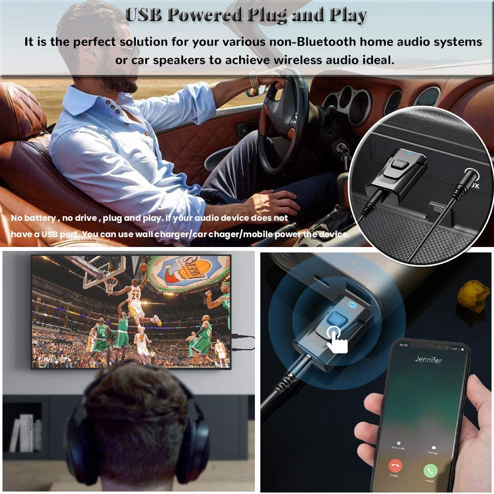 Bluetooth Aux Adapter Wireless Bluetooth 5.0 3.5mm Aux Jack Stereo Transmitter Receiver Hands-Free Car Kit Built-in Micphone for Car//Home Stereo Headphone PC TV More Black