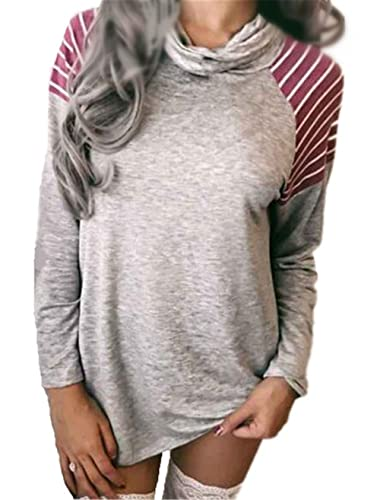 Kerlana Camiseta Mujer Blusa Collar de pila Mangas Largas Casual Elegante Rayas Blouses Largos T Shirt Simple