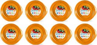 product image for Preserve Everyday BPA Free Dinner Plates Made from Recycled Plastic in the USA, Bulk Set of 32, Orange