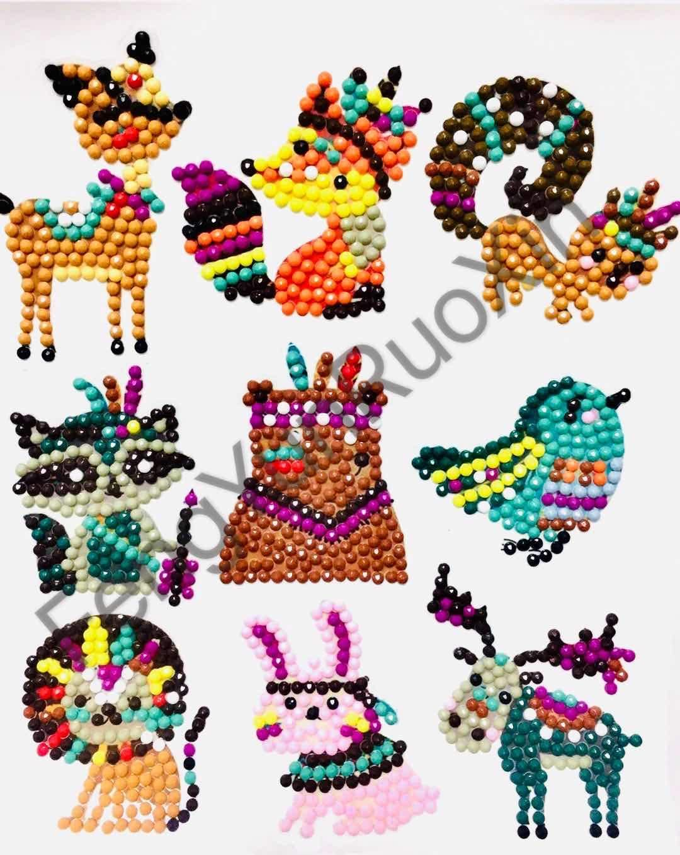 Diamond Art Kits for Kids 36Pcs Diamond Painting Mosaic Sticker Art Kits by Numbers for Children Adult Beginners Robots Vehicles Animals
