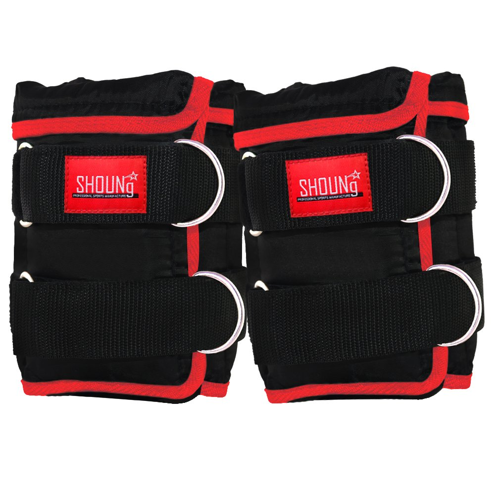 SHOUNg Ankle Weights(1 Pair) with Adjustable Strap for Fitness, Workout, Exercise, Walking, Jogging, Gymnastics, Aerobics and Gym(Black, 20LBS) by SHOUNg