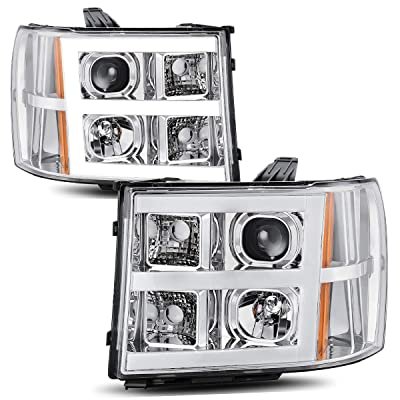AUTOSAVER88 Headlight Assembly Compatible with 2007-2013 GMC Sierra 1500/2007-2014 Sierra 2500HD 3500HD LED Tube Projector Headlights Chrome Housing Amber Reflector, Driver & Passenger Side: Automotive [5Bkhe2009850]