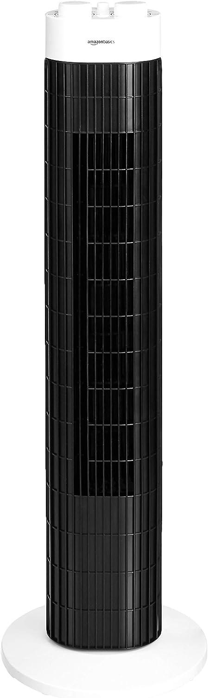 AmazonBasics - Ventilador de columna portátil oscilante con 3 velocidades y temporizador, 45W